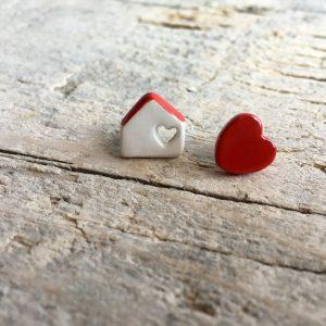 orecchini asimmetrici casetta e cuore