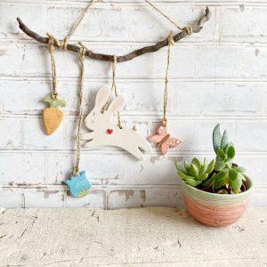 decorazione da parete coniglietto legno di mare