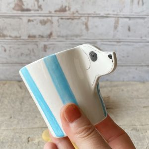 Tazzina cane bianco righe azzurre